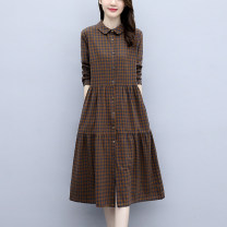 Dress Spring 2021 Coffee rice black rice red rice M L XL XXL 3XL Mid length dress singleton  Long sleeves commute Doll Collar Loose waist lattice Single breasted A-line skirt routine 30-34 years old Jingfangyin Button JFY20CNY708 More than 95% other Other 100% Pure e-commerce (online only)