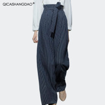 Casual pants stripe S M L XL XXL XXXL XXXXL Spring of 2019 trousers Wide leg pants Natural waist commute routine KW6585 Colorful Shangdao Simplicity belt Polyester 97% polyurethane elastic fiber (spandex) 3%