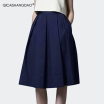 skirt Summer of 2019 S M L XL 2XL 3XL 4XL Blue black Mid length dress commute Natural waist A-line skirt Solid color 30-34 years old BV6232 51% (inclusive) - 70% (inclusive) Colorful Shangdao cotton Pleated fold Retro Cotton 62.5% polyester 37.5% Pure e-commerce (online only)