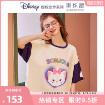 Nightdress Osaka weaving house S M L Short sleeve Leisure home Middle-skirt summer youth Crew neck Summer 2021 Cotton 95% polyurethane elastic fiber (spandex) 5% Pure e-commerce (online only)