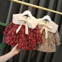 Dress Red, green, khaki female Other / other 73cm,80cm,90cm,100cm,110cm Cotton 90% other 10% winter Long sleeves Broken flowers cotton Princess Dress 12 months Chinese Mainland