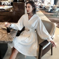 Dress Summer 2020 White (no color difference) Average size Mid length dress singleton  Long sleeves commute V-neck High waist Solid color other Big swing other Others 25-29 years old Type A Pino Fox Korean version Bright silk bandage PNH-AM-3Y26 81% (inclusive) - 90% (inclusive) Chiffon
