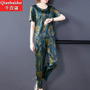 Middle aged and old women's wear Summer 2020 Red green L XL XXL 3XL 4XL noble suit easy Two piece set Retro Design 40-49 years old Socket thin Crew neck routine routine GA466 A thousand and a hundred ladies pocket polyester Other polyester 95% 5% 91% (inclusive) - 95% (inclusive) Ninth pants