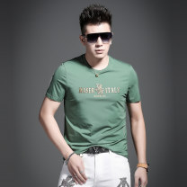 T-shirt Fashion City Gentleman green black blue white thin S M L XL XXL XXL 4XL one size larger Yan Ji Short sleeve Crew neck Self cultivation daily summer YJT605 Cotton 95% polyurethane elastic fiber (spandex) 5% youth routine Business Casual Knitted fabric Spring 2021 Animal design badge cotton