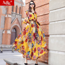 Dress Spring 2021 Yellow Decor S M L XL XXL longuette singleton  three quarter sleeve street V-neck High waist Big flower Socket Big swing pagoda sleeve Others 30-34 years old Type H Jiumei snow fox Retro printing More than 95% Chiffon polyester fiber Polyester 100% Pure e-commerce (online only)