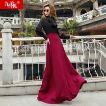 skirt Autumn of 2019 S M L XL Red brown longuette Natural waist Type O JMXHBSQ14 51% (inclusive) - 70% (inclusive) Jiumei snow fox wool Wool 54% polyester 46% Pure e-commerce (online only)