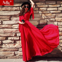 Dress Spring 2021 Black white big red rose S M L XL XXL longuette singleton  Long sleeves street V-neck Elastic waist Solid color Socket Big swing pagoda sleeve Breast wrapping 30-34 years old Jiumei snow fox JMXHLYQ023 More than 95% Chiffon polyester fiber Polyester 100% Europe and America