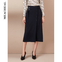 skirt Autumn of 2019 S M L Fog blue Mid length dress commute High waist A-line skirt Solid color 35-39 years old 81% (inclusive) - 90% (inclusive) MEACHEAL Cellulose acetate Button Simplicity Acetate (acetate) 82.7% polyester 17.3% Same model in shopping mall (sold online and offline)
