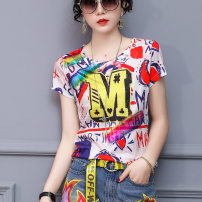 T-shirt Picture color S M L XL 2XL 3XL 4XL Summer of 2019 Short sleeve Crew neck Self cultivation Regular routine street polyester fiber 96% and above 30-39 years old originality Letter splicing LAN Mei Polyester 96% polyurethane elastic fiber (spandex) 4% Pure e-commerce (online only)