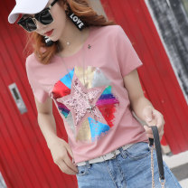 T-shirt Yellow white black pink S M L XL 2XL 3XL 4XL Summer of 2018 Short sleeve Crew neck easy Regular routine commute cotton 86% (inclusive) -95% (inclusive) 25-29 years old Korean version originality Cartoon geometric pattern alphanumeric character hand painted solid color mosaic gradient LAN Mei
