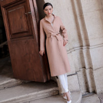 woolen coat Winter of 2018 S M L Cinnamon wool 95% and above have more cash than can be accounted for Long sleeves commute Frenulum routine other Solid color Korean version ZKJP2017LM60 Customer plus 25-29 years old Pocket tie Imitation fabric Wool 95% viscose 5% Pure e-commerce (online only)