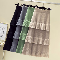 skirt Autumn of 2019 Average size Apricot (long) off white (long) black (long) green (long) gray (long) off white (short) apricot (short) blue (short) green (short) gray (short) black (short) longuette commute High waist Cake skirt JY19C88136 Jian Yu Korean version Pure e-commerce (online only)