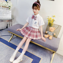 suit Ding Dang Red blue 110cm 120cm 130cm 140cm 150cm 160cm 170cm female summer college Short sleeve + skirt 2 pieces Thin money There are models in the real shooting Single breasted nothing lattice cotton children Expression of love TXEZ21B01 Class B Cotton 82.4% polyester 17.6% Summer 2021