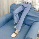 trousers Lanlan home female 110cm 120cm 130cm 140cm 150cm 160cm spring and autumn trousers Korean version There are models in the real shooting Jeans Leather belt High waist Denim Don't open the crotch Other 100% Dm-81 flared pants Autumn 2020