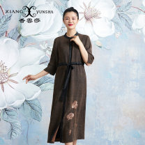 Windbreaker Autumn of 2019 S M L XL XXL XXXL Brown three quarter sleeve routine have more cash than can be accounted for commute Single breasted Crew neck routine Solid color Skirt type ethnic style XIANGYUNSHA 30-34 years old Button 96% and above silk silk Tussah silk 100%