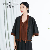 short coat Spring 2021 M L XL XXL black three quarter sleeve routine routine singleton  Original design routine other Single breasted other 40-49 years old XIANGYUNSHA 96% and above Embroidery silk silk Mulberry silk 100% Same model in shopping mall (sold online and offline)