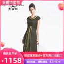 Dress Autumn of 2018 Pickle green S XL L M XXL XXXL XXXXL Mid length dress singleton  Short sleeve commute Crew neck High waist stripe zipper A-line skirt routine Oblique shoulder 40-49 years old Type A XIANGYUNSHA Retro Splicing More than 95% other silk Mulberry silk 100%