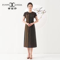 Dress Spring of 2018 black S XL L M XXL XXXL XXXXL Mid length dress singleton  Short sleeve commute Crew neck zipper A-line skirt routine 40-49 years old XIANGYUNSHA Retro Splicing More than 95% silk Mulberry silk 100%