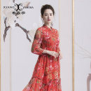Dress Spring 2017 Decor S XL L M XXL XXXL XXXXL Mid length dress singleton  Nine point sleeve commute stand collar middle-waisted Decor Socket Ruffle Skirt routine Oblique shoulder 35-39 years old Type X XIANGYUNSHA lady Ruffle printing More than 95% other silk Mulberry silk 100%