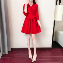 Dress Spring 2021 S M L XL 2XL 3XL 4XL Short skirt singleton  three quarter sleeve commute V-neck High waist Solid color zipper A-line skirt other Others 25-29 years old Type A Yixuefang Retro 91% (inclusive) - 95% (inclusive) Chiffon polyester fiber Pure e-commerce (online only)