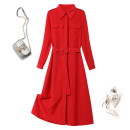 Dress Summer 2021 S M L XL 2XL Mid length dress singleton  Long sleeves commute Polo collar High waist Solid color Single breasted A-line skirt shirt sleeve Others 25-29 years old Type A Yixuefang Retro More than 95% Chiffon other Other 100% Pure e-commerce (online only)
