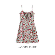 Dress Summer 2021 blackish green , Safflower with yellow background , Safflower on white background XS,S,M,L Short skirt singleton  Short sleeve street Crew neck High waist Decor Socket A-line skirt camisole 18-24 years old Type A 81% (inclusive) - 90% (inclusive)