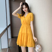 Dress Summer 2020 S M L XL Middle-skirt singleton  Short sleeve commute V-neck High waist Solid color Socket A-line skirt routine Others 18-24 years old Type A Yingluolan Simplicity More than 95% Chiffon other Other 100% Pure e-commerce (online only)