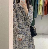 Dress Autumn 2020 Ice blue, available for seven days, no reason S,M,L,XL longuette singleton  Long sleeves commute Crew neck High waist Broken flowers Socket A-line skirt routine Type A Burley's Poetry Korean version printing More than 95% Chiffon polyester fiber