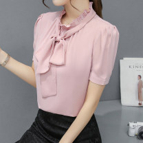 shirt S M L XL XXL Summer 2020 polyester fiber 96% and above Short sleeve commute Regular stand collar Socket puff sleeve Solid color 25-29 years old Manna Korean version Lace up button Polyester 100%