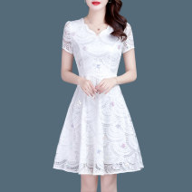 Dress Spring 2020 white M,L,XL,2XL,3XL,4XL Middle-skirt singleton  Short sleeve commute V-neck middle-waisted Solid color zipper A-line skirt routine Others 30-34 years old Type A Korean version Hollow out, embroidery, Gouhua, hollow out, three-dimensional decoration, sequins, zippers, lace GJ5583
