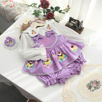 suit Xinguoguo Purple suit, purple offer, pink suit, pink offer, green suit, green offer, undershirt 80cm, 90cm, 100cm, 110cm, one size fits all female spring and autumn princess Sleeveless + pants 3 pieces routine No model Socket nothing other cotton children Expression of love Class A Cotton 100%