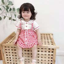 suit Other / other Top + skirt 73cm,80cm,90cm,100cm,110cm female summer college Short sleeve + pants 2 pieces routine There are models in the real shooting nothing lattice cotton children Expression of love Class A Cotton 100% Six months, 12 months, 9 months, 18 months, 2 years, 3 years Yiyang City