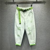 Jeans Spring 2021 S,M,L,XL Ninth pants Natural waist Haren pants Thin money Cotton elastic denim light colour