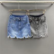 skirt Summer 2021 S,M,L,XL,2XL Blue, black and gray Short skirt Versatile High waist skirt Solid color Type A 71% (inclusive) - 80% (inclusive) Denim cotton Hand worn, pockets, buttons, zippers