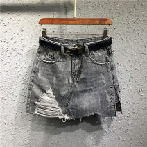 skirt Spring 2021 S,M,L,XL Short skirt Versatile Natural waist Irregular Solid color Type A 71% (inclusive) - 80% (inclusive) Denim cotton Holes, hand abrasion, asymmetry