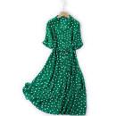 Dress Summer 2021 Green wave point L,XL Mid length dress Short sleeve commute tailored collar Loose waist Dot Single breasted A-line skirt Korean version Button, print More than 95% Crepe de Chine silk