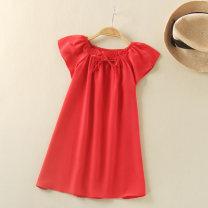 Home skirt / Nightgown Jinxin silk 100cm,110cm,120cm,130cm,140cm,150cm,160cm Mulberry silk 100% Red, rose summer female 3, 4, 5, 6, 7, 8, 9, 10, 3-5, 5-7, 7-9 Moisture absorption, moisture absorption and perspiration at home Class A