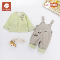 suit decimal point Green blue 66cm 73cm 80cm neutral spring and autumn leisure time Long sleeve + pants 2 pieces routine No model Single breasted nothing Cartoon animation cotton children Expression of love Class A Cotton 100% Spring 2021 6 months 12 months 9 months 18 months Chinese Mainland