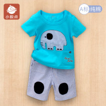 suit decimal point Green blue yellow male summer Short sleeve + pants 2 pieces Thin money There are models in the real shooting Socket nothing Cartoon animation Pure cotton (100% cotton content) children Expression of love Class A Cotton 100% Summer of 2018