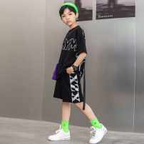 suit Young master Sprite t (blue) + diagonal shorts (white) sprite t (black) + side letter shorts (black) sprite t (black) + side letter shorts (light gray) 135cm 145cm 155cm 165cm 175cm male summer fashion Short sleeve + pants 2 pieces Thin money There are models in the real shooting Socket nothing