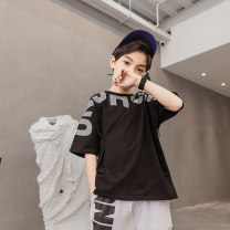 T-shirt Black orange Young master 135cm 145cm 155cm 165cm 175cm male summer Short sleeve Crew neck Cool There are models in the real shooting nothing cotton letter Cotton 95% polyurethane elastic fiber (spandex) 5% IXZXC00O Class B other Summer 2021 Chinese Mainland Shandong Province Weihai City