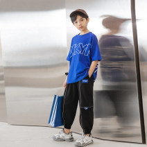 suit Young master Sprite t (blue) + fluorescent pants (black) ixz short sleeve (white) + fluorescent pants (light gray) 135cm 145cm 155cm 165cm 175cm male summer fashion Short sleeve + pants 2 pieces routine There are models in the real shooting Socket nothing letter cotton children IXZXC00MC23