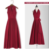 Dress Summer 2020 Black red XS S M L XL XXL Mid length dress singleton  Sleeveless commute V-neck High waist Solid color zipper A-line skirt routine Hanging neck style 18-24 years old Type A Cheenbol / silk Retro Lace up zipper 3D LYQ1688 More than 95% polyester fiber Other polyester 95% 5%
