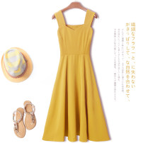 Dress Summer of 2019 XS S M L XL XXL 3XL Mid length dress singleton  Sleeveless commute One word collar High waist Solid color zipper A-line skirt routine camisole 18-24 years old Type A Cheenbol / silk Retro Open back stitching strap zipper 3D More than 95% polyester fiber