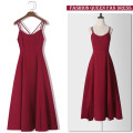 Dress Summer 2020 Red [lined] red skirt + white cardigan S M L XL XXL Mid length dress singleton  Sleeveless commute Crew neck High waist Solid color zipper A-line skirt routine straps 25-29 years old Type A Cheenbol / silk Retro Open back with zipper 3D LYQ1667 More than 95% polyester fiber