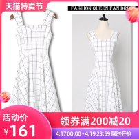 Dress Summer of 2019 Black and white XS S M L XL XXL Mid length dress singleton  Sleeveless commute One word collar High waist lattice other A-line skirt other camisole 18-24 years old Type A Cheenbol / silk lady Stitched strap zipper 3D LYQ1450 More than 95% polyester fiber Other polyester 95% 5%
