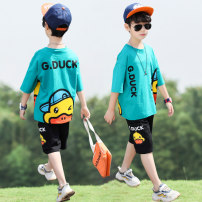 suit Happy bell Orange White Lake green lake blue 110cm 120cm 130cm 140cm 150cm 160cm male summer leisure time Short sleeve + pants 2 pieces Thin money There are models in the real shooting Socket nothing Cartoon animation cotton children Learning reward YBT02187-1 Class B Other 100% Spring 2021