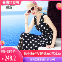 Dress Summer 2017 Black spot S M L XL XXL longuette singleton  Sleeveless Sweet V-neck middle-waisted Dot Socket Big swing other camisole 35-39 years old Type X Jing Han 3D printing LYQ17095 More than 95% other polyester fiber Polyester 98.9% others 1.1% Bohemia Pure e-commerce (online only)