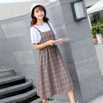 Dress Spring 2021 S,M,L,XL Mid length dress singleton  Sleeveless commute square neck High waist lattice Socket other other straps Type A Other / other Korean version other cotton