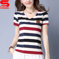 T-shirt M L XL XXL XXXL Summer of 2018 Short sleeve V-neck easy Regular routine commute Viscose 51% (inclusive) - 70% (inclusive) 25-29 years old Korean version classic Sidina Stitching open line decoration, three-dimensional decoration Pure e-commerce (online only)
